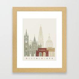 Guadalajara skyline poster Framed Art Print