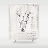 animal skull Shower Curtains featuring Skull by Sinerei