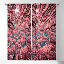 Glance Upward Vibrant Living Coral Trees Teal Sky Blackout Curtain