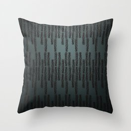 Eye of the Magpie tribal style pattern - dark teal Throw Pillow