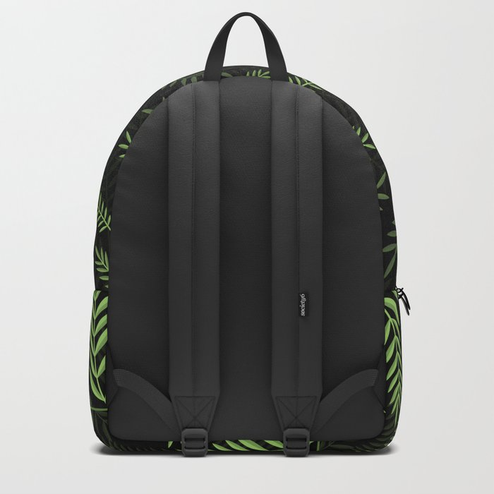 GREEN LEAVES ON BLACK Backpack