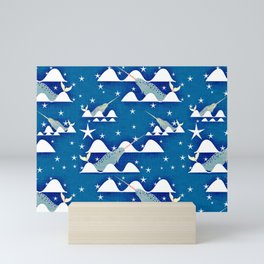 Sea unicorn - Narwhal blue Mini Art Print