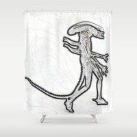 xenomorph Shower Curtains featuring Alien  by Beastie Toyz