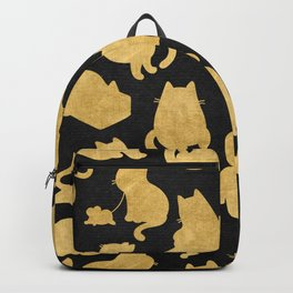 Gold on Black Kitty Pattern Backpack