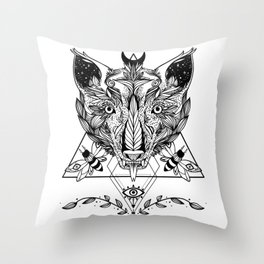 Serpent Tongue Wolf, Moth Insects, Third Eye Geometric Triangle Shapes Throw Pillow