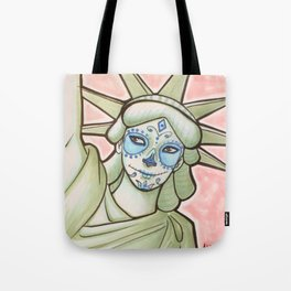 Sugar Skull Statue of Liberty Tote Bag