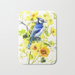 BLue Jay and Yellow Flowers Bath Mat