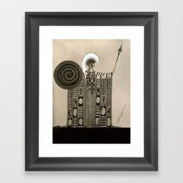 "Art Deco Sepia Illustration ""Athena"" Framed Art Print"