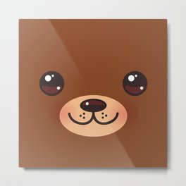 Cute Cartoon Kawaii funny brown bear muzzle with pink cheeks and big eyes Metal Print
