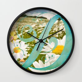 D is for Ducklings and Daisies Wall Clock