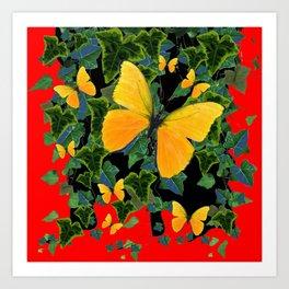 GOLDEN YELLOW BUTTERFLIES GREEN IVY LEAVES RED ART Art Print