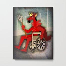 Devil Unicorn in Wheelchair Metal Print