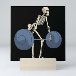 Skeleton with barbell weightlifting squat fitness Mini Art Print