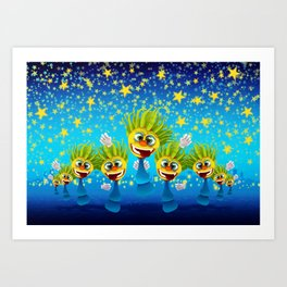 Cartoony Characters Under Starry Night Art Print