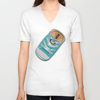 vans V-neck T-shirts featuring Cute blue teal Vans all star baby shoes iPhone 4 4s 5 5s 5c, ipod, ipad, pillow case and tshirt by Three Second