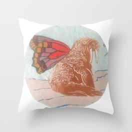 Winged Walrus Throw Pillow
