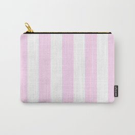 Pink lace - solid color - white vertical lines pattern Carry-All Pouch