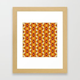Orange, Brown, and Ivory Retro 1960s Wavy Pattern Framed Art Print