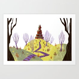Lone House on the Hill Art Print