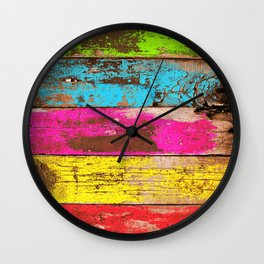 Vintage Colored Wood Wall Clock