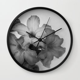 Black and white flowers Wall Clock