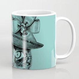 Mrs Robinson ‐ Charming Kitty Cat wearing a victorian English hat / Art Print Coffee Mug