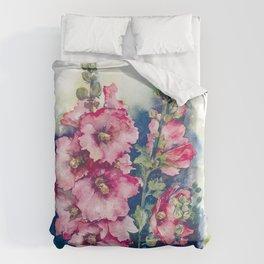 Watercolor Hollyhocks pink flowers Duvet Cover