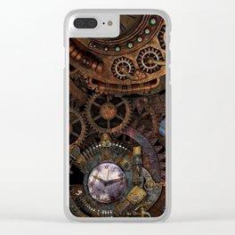 Steampunk Time Portal Clear iPhone Case