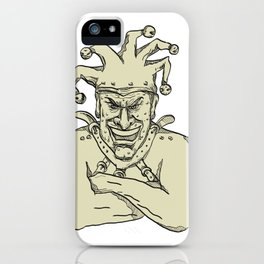 Crazy Court Jester Straitjacket Drawing iPhone Case