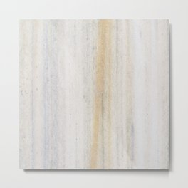 Rustic gray gold yellow vintage white marble Metal Print