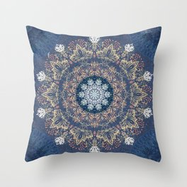 Blue's Golden Mandala Throw Pillow