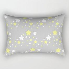 Yellow White Stars on Grey Gray Rectangular Pillow