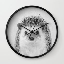 Hedgehog - Black & White Wall Clock