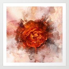 Fiery Rose Art Print
