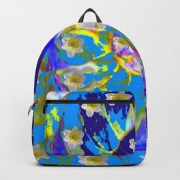 MODERN ART GARDEN BLUE SPIRAL &  DAFFODILS ART Backpack