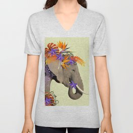 Elephant Flower Artwork - Heliconia Monstera Leaves Unisex V-Neck