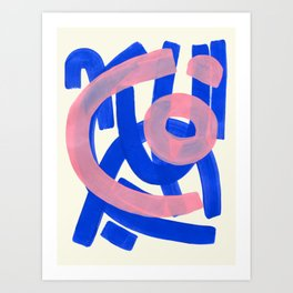 Tribal Pink Blue Fun Colorful Mid Century Modern Abstract Painting Shapes Pattern Art Print