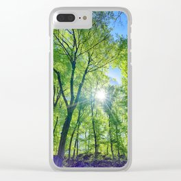 Perfect lens flare in a summer afternoon in the forest Clear iPhone Case