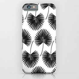 Fan Palm, Graphic Monochromatic Botanical Leaf Art Print, Abstract Charcoal Black and White Tropical Floral Priece iPhone Case