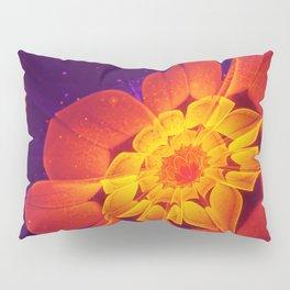 Royal Blue, Red, and Yellow Fractal Gerbera Daisy Pillow Sham