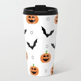 White Halloween Pattern - Pumpkins & Bats Travel Mug