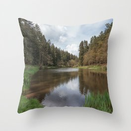 Spring at Soudley Ponds Throw Pillow