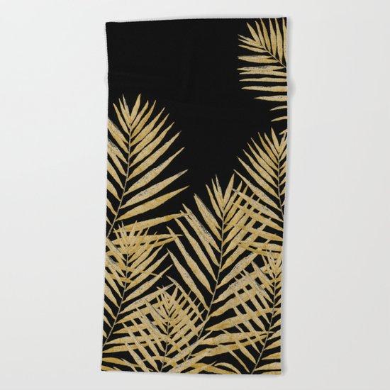 Golden Fern On Black Background Beach Towel