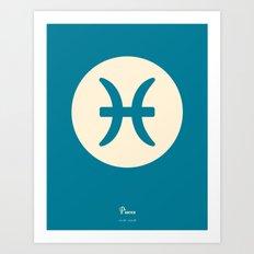 Pisces Symbol Blue Art Print