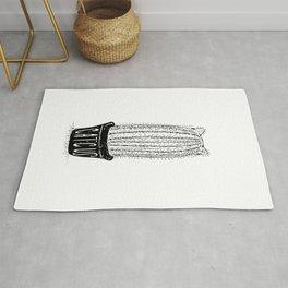 Catcus - Cat Plant Mum Black and White Illustration Rug