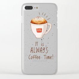 watercolor illy coffee Clear iPhone Case