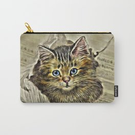 VINTAGE KITTEN DRAWING PRINT Carry-All Pouch