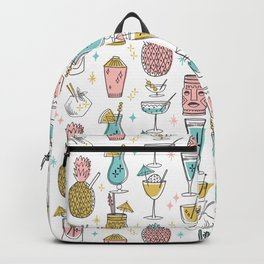 Tropical cocktails summer drinks pineapple tiki bar pattern by andrea lauren Backpack