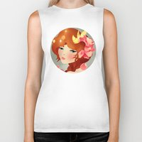 lily Biker Tanks featuring Lily by Jenny Lloyd Illustration