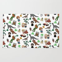 jurassic park Area & Throw Rugs featuring Jurassic Park Bits by Lacey Simpson